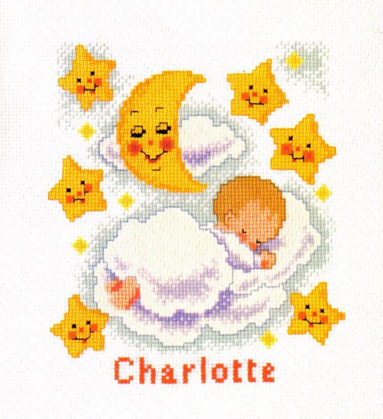 Baby On Clouds Birth Sampler Cross Stitch Kit